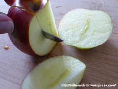 slicing an apple